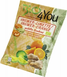 Bio4You Bio-Bonbon Ingwer-Limette & Ingwer-Orange gefüllt 75g